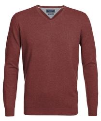 Rdzawy sweter  pulower v-neck z bawełny pima  xl