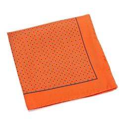Jedwabna pomarańczowa poszetka VAN THORN w granatowy wzór