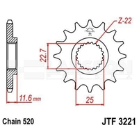 Zębatka przednia jt f3221-13, 13z, rozmiar 520 2201101 polaris scrambler 500