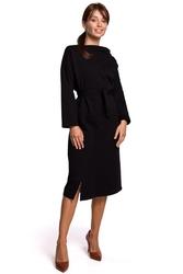 Czarna sukienka dzianinowa midi z asymetrycznym dekoltem