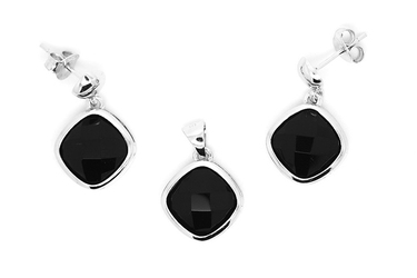 Srebrny komplet biżuterii pr.925 z czarnym onyksem kpl104