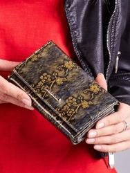 Skórzany portfel damski lakierowany złoty lorenti - złoty