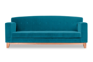 Sofa ros welurowa 3-osobowa welur bawełna 100 turkusowy