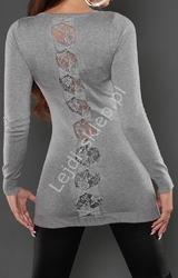 Dzianinowa tunika z kokardkami i koronką na plecach, grafitowa 8083