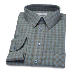 Koszula flanelowa męska w błękitnoszarą kratę 36