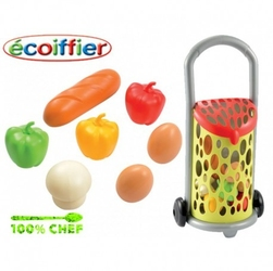 Smoby ecoiffier wózek koszyk na zakupy z artykułami spożywczymi