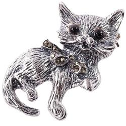 Kitty srebrna broszka z markazytami kotek