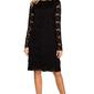 Wizytowa czarna trapezowa sukienka z koronki