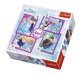 Puzzle frozen 4w1 zimowe szaleństwo kraina lodu 34294