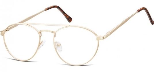 Okulary oprawki okrągłe zerówki metalowe korekcyjne 788d ciemne złote