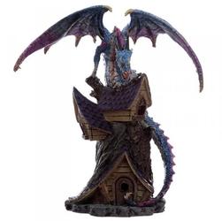Niebieski smok na chatce - figurka fantasy 22cm