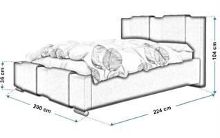 Łóżko tapicerowane do sypialni tecla z pojemnikiem na pościel
