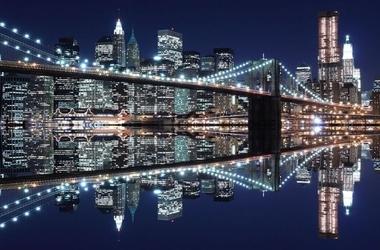 New york brooklyn bridge night - fototapeta