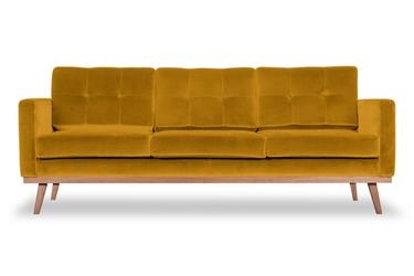 Sofa fern z funkcją spania welurowa 3-osobowa  welur bawełna 100 musztardowy 2219
