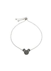 Bransoletka z motywem myszki miki z kryształami swarovskiego® bonprix srebrny kolor rodowany - czarny