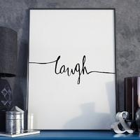 Plakat w ramie - minimalist laugh , wymiary - 20cm x 30cm, ramka - czarna