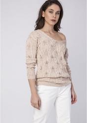 Kobiecy ażurowy sweter - beżowy