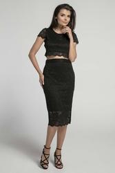 Czarna dopasowana spódnica koronkowa z wysokim stanem