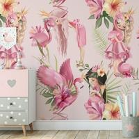 Tapeta dla dzieci - flamingo kingdom , rodzaj - próbka tapety 50x50cm
