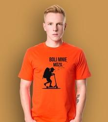 Chłopak - boli mnie mózg. t-shirt męski pomarańczowy l