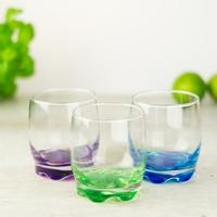 szklanki do drinków 250 ml z kolorowym dnem 6szt.