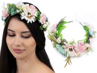 Wianek na głowę boho kwiaty róże ślubny duży