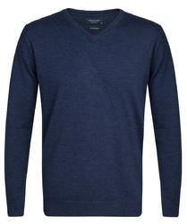 Elegancki granatowy sweter prufuomo originale z delikatnej wełny merynosów xxl