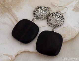 Alkazar - srebrne kolczyki z hebanem