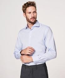 Elegancka błekitna koszula męska taliowana, slim fit o splocie typu panama 45