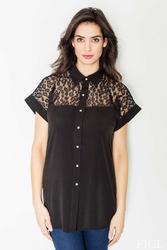 Czarna koszula z krótkim rękawem i koronkową górą