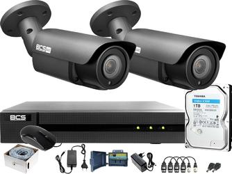 Monitoring po skrętce bcs basic 2mpx 1tb h265+ 2 x kamera tubowa 2.8-12mm ir 40m