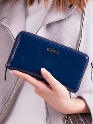 Skórzany portfel damski niebieski lorenti 76119 - granatowy