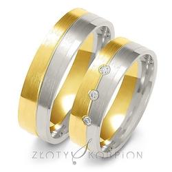 Obrączki ślubne dwukolorowe złoty skorpion – wzór au-a228