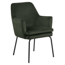 Krzesło z poduszką na czarnych nogach bilbao vic dark green