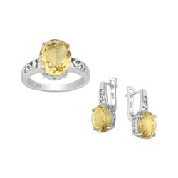 Komplet rodowanej srebrnej biżuterii z cytrynem