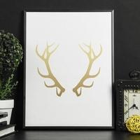 Rogi jelenia - plakat ze złotym nadrukiem , wymiary - 70cm x 100cm, kolor ramki - czarny, kolor nadruku - złoty