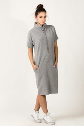 Dresowa sukienka z golfem irmina szara