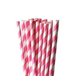 Słomki papierowe różowo-białe paski