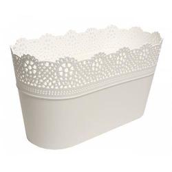 Plastikowa osłonka na doniczkę podłużna - biała