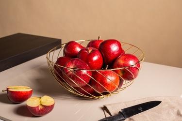 Koszyk metalowy  druciany na owoce złoty altom design skręcony 28 cm