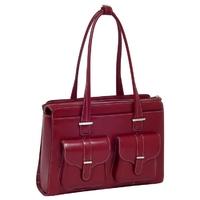 Skórzana torba damska na laptopa 15,4 czerwona mcklein alexis 96546 - czerwony