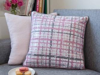 Poszewka na poduszkę dekoracyjna altom design, kolekcja alaska, dekoracja różowa kratka 40 x 40 cm