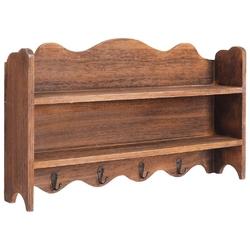 Vidaxl wieszak ścienny na płaszcze, brązowy, 50x10x30 cm, drewniany
