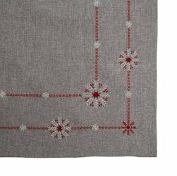 Obrus na stół świąteczny boże narodzenie altom design szary  śnieżynki 80 x 80 cm