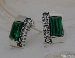 Degli - srebrne kolczyki malachit z kryształkami