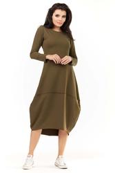 Khaki dzianinowa midi sukienka bombka z długim rękawem