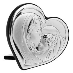 Srebrny obrazek madonna serce chrzest grawer