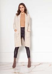 Swetrowy płaszcz bez zapięcia z warkoczami - beżowy