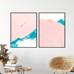 Zestaw dwóch plakatów - pink abstract , kolor ramki - czarny, wymiary - 70cm x 100cm 2 sztuki