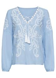 Tunika z haftem bonprix perłowy niebieski - biel wełny